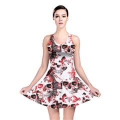 Cloudy Skulls White Red Reversible Skater Dress