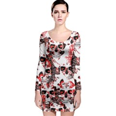 Cloudy Skulls White Red Long Sleeve Bodycon Dress