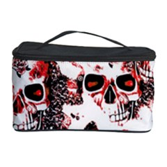 Cloudy Skulls White Red Cosmetic Storage Case