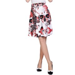Cloudy Skulls White Red A-Line Skirt