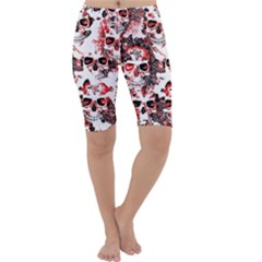 Cloudy Skulls White Red Cropped Leggings