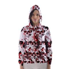 Cloudy Skulls White Red Hooded Wind Breaker (Women)