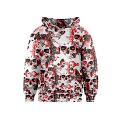 Cloudy Skulls White Red Kids  Pullover Hoodie