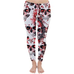 Cloudy Skulls White Red Classic Winter Leggings