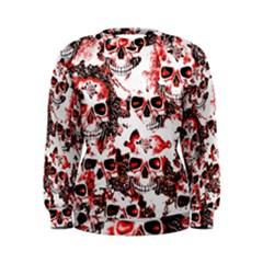 Cloudy Skulls White Red Women s Sweatshirt
