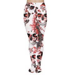 Cloudy Skulls White Red Women s Tights