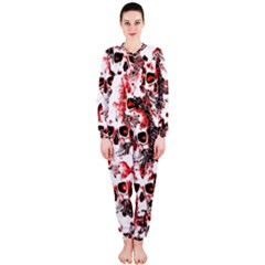 Cloudy Skulls White Red OnePiece Jumpsuit (Ladies)