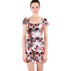 Cloudy Skulls White Red Short Sleeve Bodycon Dress