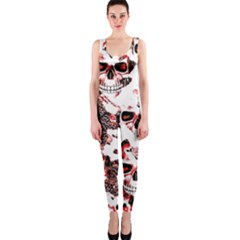 Cloudy Skulls White Red OnePiece Catsuit