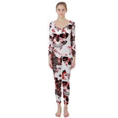 Cloudy Skulls White Red Long Sleeve Catsuit