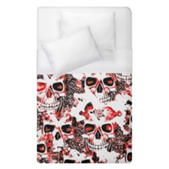 Cloudy Skulls White Red Duvet Cover (Single Size)