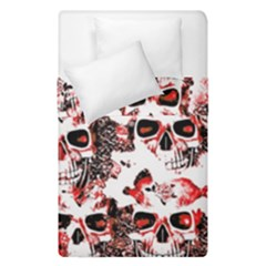 Cloudy Skulls White Red Duvet Cover Double Side (Single Size)