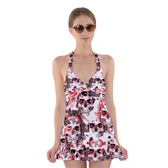 Cloudy Skulls White Red Halter Swimsuit Dress