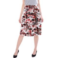 Cloudy Skulls White Red Midi Beach Skirt
