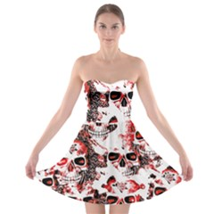 Cloudy Skulls White Red Strapless Bra Top Dress