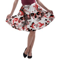 Cloudy Skulls White Red A-line Skater Skirt