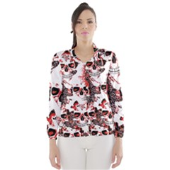 Cloudy Skulls White Red Wind Breaker (Women)