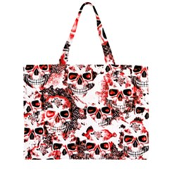 Cloudy Skulls White Red Large Tote Bag