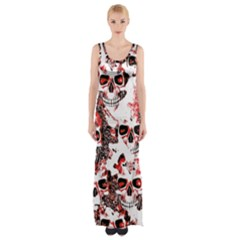 Cloudy Skulls White Red Maxi Thigh Split Dress