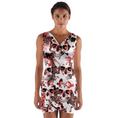 Cloudy Skulls White Red Wrap Front Bodycon Dress