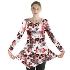 Cloudy Skulls White Red Long Sleeve Tunic