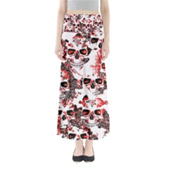 Cloudy Skulls White Red Maxi Skirts