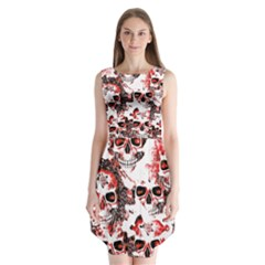 Cloudy Skulls White Red Sleeveless Chiffon Dress