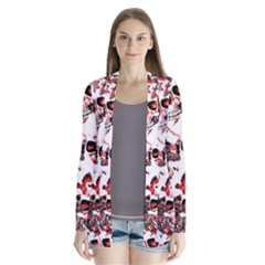 Cloudy Skulls White Red Cardigans