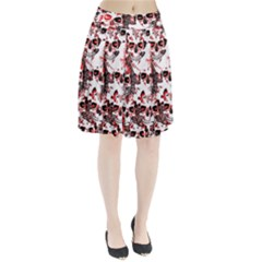 Cloudy Skulls White Red Pleated Skirt