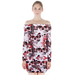 Cloudy Skulls White Red Long Sleeve Off Shoulder Dress