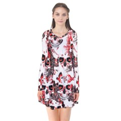 Cloudy Skulls White Red Flare Dress