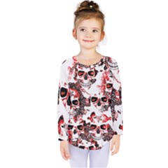 Cloudy Skulls White Red Kids  Long Sleeve Tee