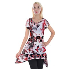 Cloudy Skulls White Red Short Sleeve Side Drop Tunic