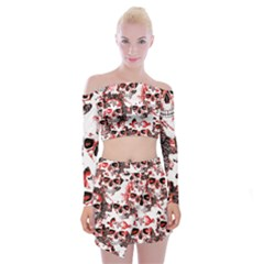 Cloudy Skulls White Red Off Shoulder Top with Skirt Set