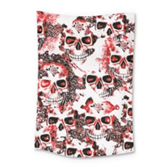 Cloudy Skulls White Red Small Tapestry