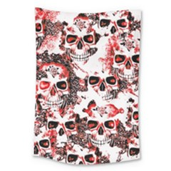 Cloudy Skulls White Red Large Tapestry