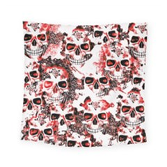 Cloudy Skulls White Red Square Tapestry (Small)