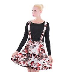 Cloudy Skulls White Red Suspender Skater Skirt