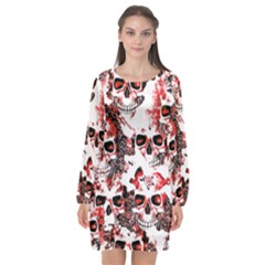 Cloudy Skulls White Red Long Sleeve Chiffon Shift Dress