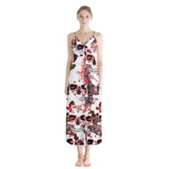 Cloudy Skulls White Red Chiffon Maxi Dress