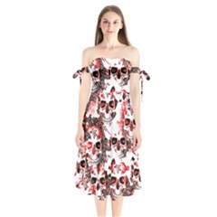 Cloudy Skulls White Red Shoulder Tie Bardot Midi Dress