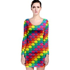 Colorful 3d rectangles           Long Sleeve Bodycon Dress