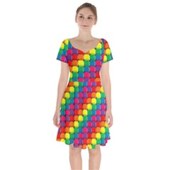 Colorful 3d Rectangles             Short Sleeve Bardot Dress