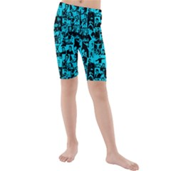 Elvis Presley pattern Kids  Mid Length Swim Shorts