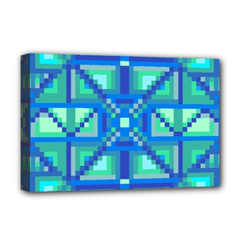 Grid Geometric Pattern Colorful Deluxe Canvas 18  X 12