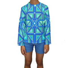 Grid Geometric Pattern Colorful Kids  Long Sleeve Swimwear