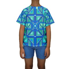 Grid Geometric Pattern Colorful Kids  Short Sleeve Swimwear
