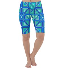 Grid Geometric Pattern Colorful Cropped Leggings