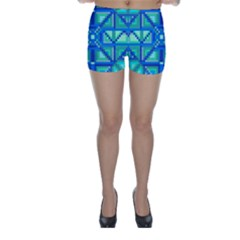 Grid Geometric Pattern Colorful Skinny Shorts