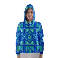 Grid Geometric Pattern Colorful Hooded Wind Breaker (women)